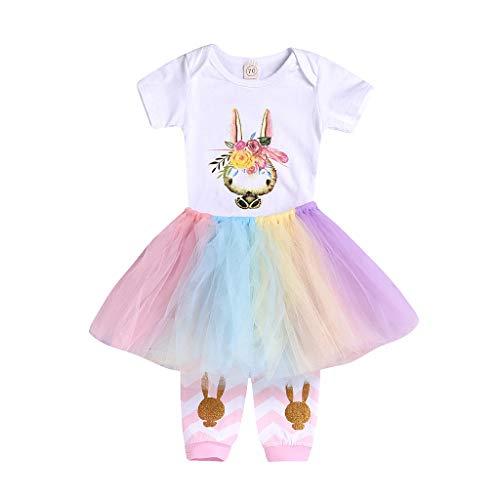 Ostern 3 Stück Kinderbekleidung Kleinkind Baby Mädchen Kleidung Kaninchen Print Strampler Kurzarm T-Shirt Tops + Tutu Prinzessin Kleid Tüll Rock + 1 Paar Socken Outfits Babykleidung (90)