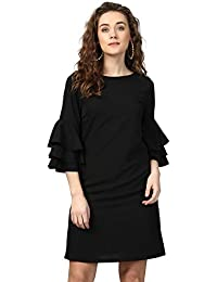 Harpa Synthetic A-Line Dress (GR5451A_Black_X-Large)
