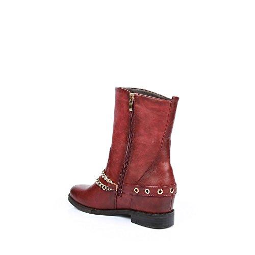 Ideal Shoes–Scarponcini classici con ceinturons e catene finitura metallizzata Gail Rosso