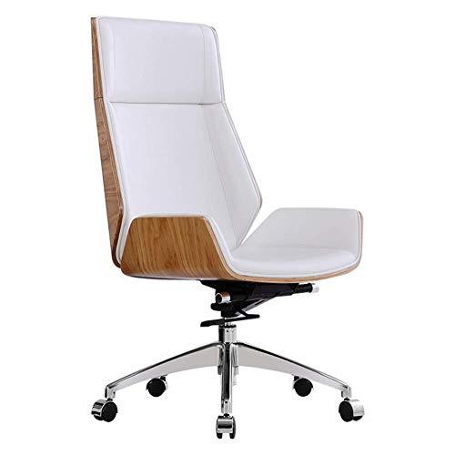 Gepolsterte Leder-club Sessel (GXDHOME Boss Stuhl Drehstuhl Aus Leder, Ergonomischer Bürostuhl Mit Verstellbarer Kopfstütze Und Dicker Gepolsterter Lendenwirbelstütze Computer Stuhl (Color : White))