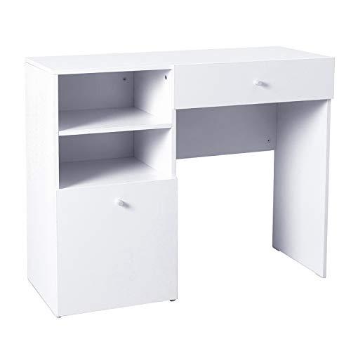 Homcom scrivania moderna design porta pc computer da ufficio in legno mdf 100×40×82cm