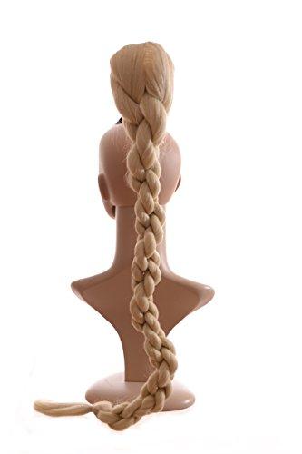 Kordelzug Haarteil (Cotton Blond Extra Lang 78cm geflochtener Pferdeschwanz| Kordel Effect | Kordelzug Befestigung)