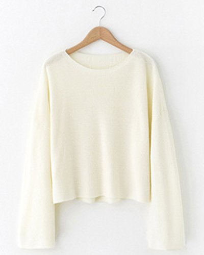 Minetom Femmes Hiver Automne Manches Trompette Chandail Col Rond Court Tricot Chaud Jumpers Hauts Sweatshirt Blanc