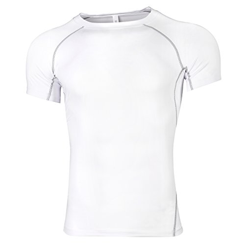 RoxZoom Herren quick dry T-shirt, kurzärmelige Sport T-shirt Kompression Athletik Baselayer Moisture Wicking für Sport und Outdoor, Weiß XLarge Weiß