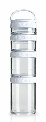 BlenderBottle GoStak Starter 4Pak inklusive Handgriff  - Behälter zum Aufbewahren von Protein, Eiweiß, Pulver, Vitaminen und mehr, 1er Pack - weiß