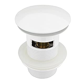 ATCO® PU19 mit Überlauf Pop-Up Ventil Ablauf Ablaufgarnitur Excenter Exzenter Abfluss Klick-Ventil Waschbecken Siphon Röhrensiphon weiss