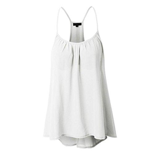 Kobay Damen Übergröße Chiffon Solid ärmelloses Neckholder Tank Crop Tops Weste Bluse T-Shirt(Large,Weiß)