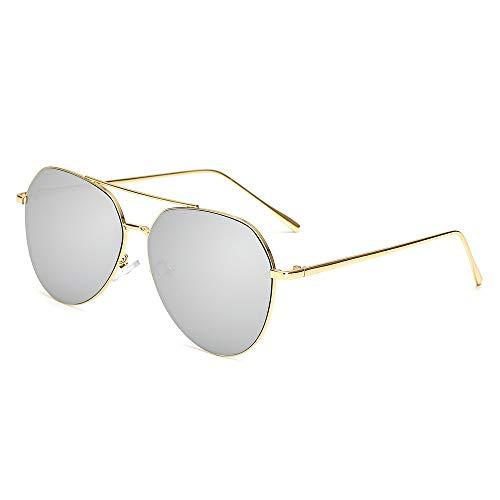 Hohe Qualität Luftfahrt Sonnenbrille Frauen Markendesigner Pilot Sonnenbrille Frauen Weibliche Männer Sonnenbrille For Frauen Spiegel Sonnenbrille (Lenses Color : Silver)