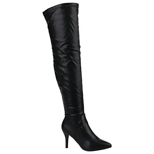 Damen Boots Gefütterte Stiefel Stilettos Overknees Basic Schuhe 151646 Schwarz Arriate 36 Flandell