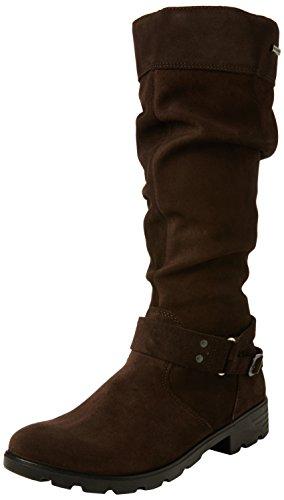 Ricosta Mädchen Riana Langschaft Stiefel, Braun (Cafe 281), 38 EU - Dunkelbraune Leder Kinder Schuhe