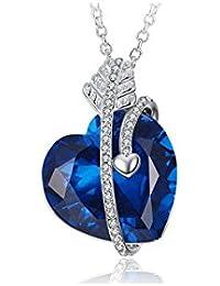 """Caperci Azul Zafiro Creado Corazón Flecha de Cupido """"El amor para siempre""""Collar para las Mujeres Disfrute Aristocrática"""