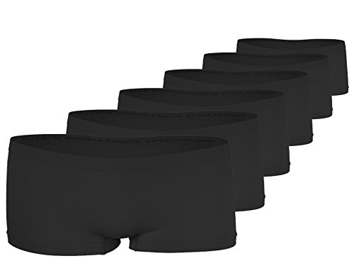 Yenita 6er Pack Damen Seamless Microfaser Pantys, Hipster, Shorts, Hot Pants, Slips (S/M, 6er Pack-Schwarz) -