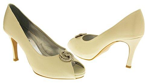 Footwear Studio , Peep-Toe femme Satin Ivoire