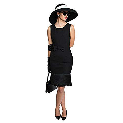 Kostüm Hepburn Audrey Hut - Premium Audrey Hepburn Kostüm Set, Trodelkleid, Mütze, Schal, Handschuhe, Ohrringe und Zubehör (XXS)