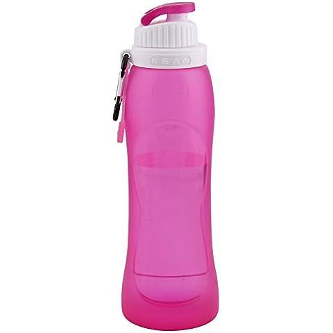 Wonderfully Acqua Bottiglia Pieghevole Silicone 500ml portable di protezione dell'ambiente Sport che piega a prova di perdite (Red Rose)