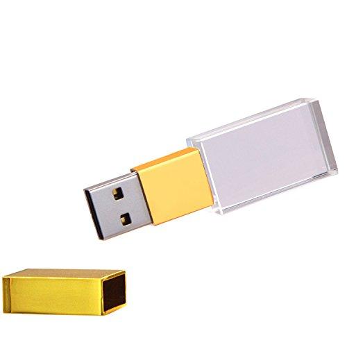Uflatek 16 gb pendrive cristallo memoria usb 2.0 impermeabile chiavetta usb oro tappo di metallo penna usb vetro flash drive archiviazione dati