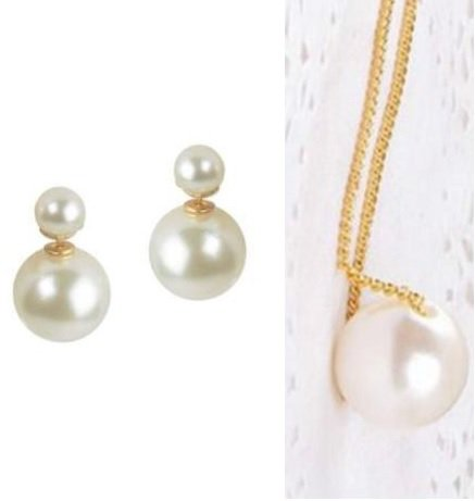 Shopping World COMBO OFFER Simulated Pearl Double Ball Stud+Single Pearl Pendant Chain Necklace