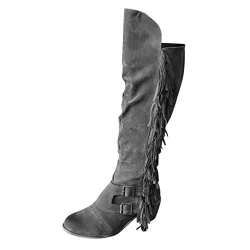 ZHANSANFM Stiefeletten Damen Römer Vintage Spitz Zehen Langen Stiefeln Mode Quaste Halbhohe Hohe Stiefel mit Blockabsatz Bequeme Lederoptik Ankle Boots Cowgirl Cowboy Elegant (40 EU, Grau)