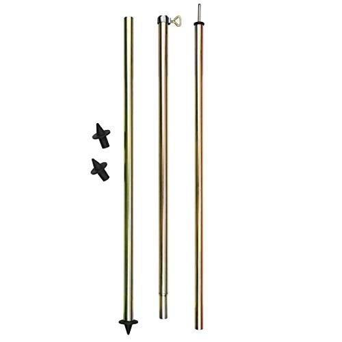 10T TA Pole 260 - Zeltstange 3 Segmente, Aufstellstange mit Klemmschraube, Tarpstange aus Stahl,  Teleskopstange 170-260cm, 2 Standfüße (flach und spitz)
