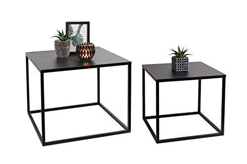 LIFA LIVING Schwarze Couchtische 2er-Set | Niedrige stapelbare Beistelltische im modernen Design | Wohnzimmertische aus Metall | kubische Form -