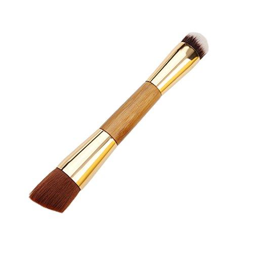 Double Extrémité Pinceau de Maquillage pour Contour Fond de Teint Poudre Poignée en Bambou
