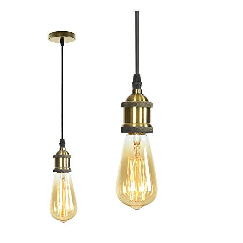 MIFIRE Vintage Pendelleuchte E27 Edison Lampenfassung Retro Antike Hängelampe mit 1.5M 3-adriges Textilkabel Lampenaufhängung für Pendelleuchten Deckenbeleuchtung DIY (Bronze)