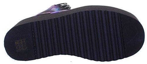 Buffalo 1300 Plattform Galactica Galaxy Print Schnürschuh, Größe 36-41 Purple P01