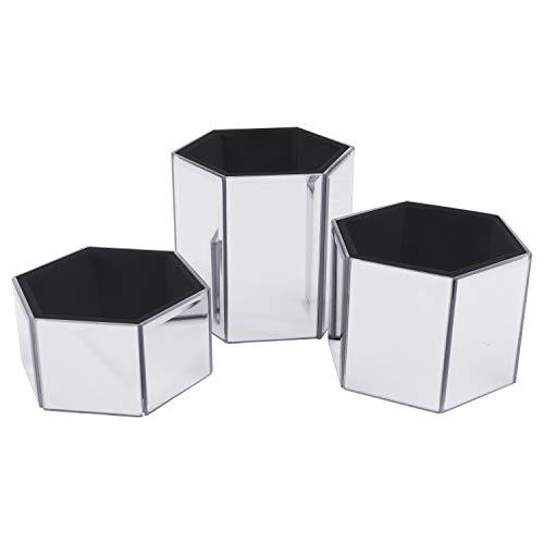 Kosmetik Organizer (3 Pack) - Silberne gespiegelte, Sechseck Geformt Aufbewahrungsbehälter für Kosmetikpinsel und Schmuckzubehör - Große, Mittlere und Kleine Make-up-Halter für Den Frisiertisch