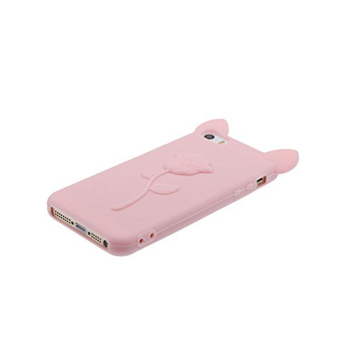 iPhone 5 Coque, Étui Cover Housse pour iPhone 5S 5C 5G, TPU Rubber Skin Soft Shell iPhone SE Case, Résistant à la poussière Scratch (3D Cartoon lapin Stripe) et stylet blanc Pink