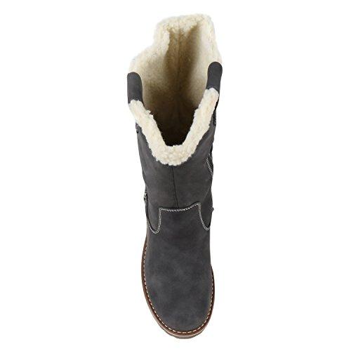 d37b4c9ac90322 Stiefelparadies Grau Gefütterte Brito Schnallen Schuhe Bommel Warm  Profilsohle Damen Damenschuhe Booties Kunstfell Stiefel Flandell Winter ...