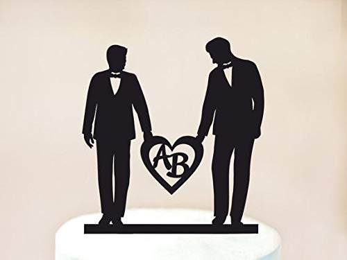 Adorno para tarta de boda gay, con forma de corazón, decoración para tarta gay, con iniciales, decoración para tarta de amor gay, regalo de boda gay (1007)
