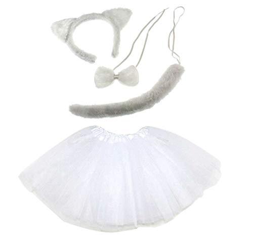 Unbekannt Weiße Katze Kinder oder Damen Kostüm - White Cat Costume Set - vertrieb durch ABAV (Komplett Set - Weiße Katze Kostüm