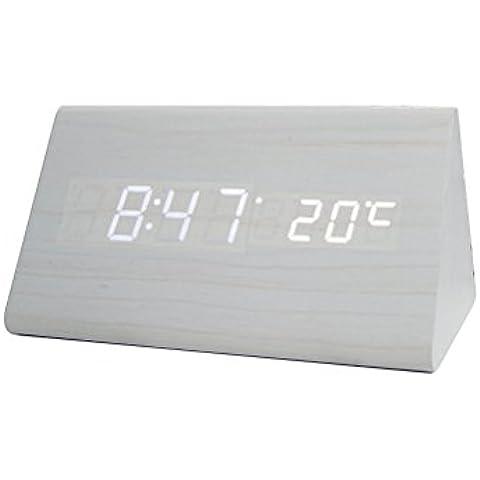 Yihya Triángulo Mini Desk Electrónico LED Alarm Clock para Hogar y Oficina - Diseño único Madera Reloj Snooze con Activado por Voz, Control de Sonido Sensor Display Termómetro Calendario --- White