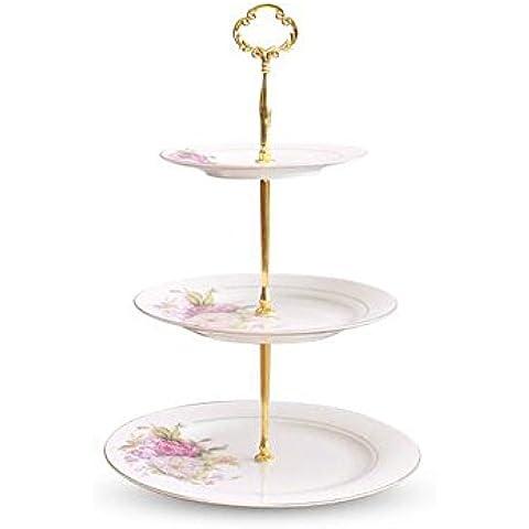 Bone China Placa de postre de tres capas Set de pastel de té de la tarde Placa de fruta seca con fruta Plato de fruta de pastelería Plato de fruta ( Tamaño : 3 Layers )