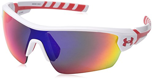Under Armour 8600090-106451 Rival Shield Sunglasses, 42mm - Shiny White / Red