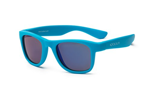 Koolsun Baby Sonnenbrille Kinder Wave Fashion 1+ | Neon Blue Verspiegelt | 100% UV Schutz | Optical Clas 1, Cat. 3 | flexibel & unkaputtbar