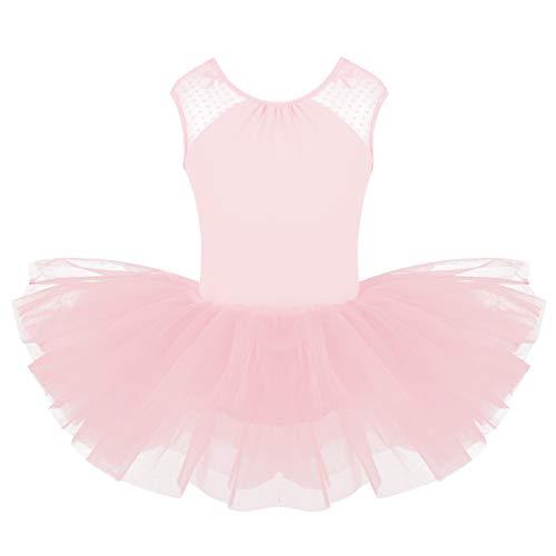 YiZYiF Kinder Ballettkleid Ballerinas Tanz Kostüm Ballett Trikot Kleidung Kinder Ballettanzug Rückenfrei aus Spitze und Tüll Röckchen Gr. 104-164 Rosa 128-140