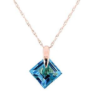 QP gioiellieri naturale topazio blu ciondolo collana in oro rosa 9kt, taglio quadrato 1,16ct-2277r, oro rosa, colore: blu, cod.