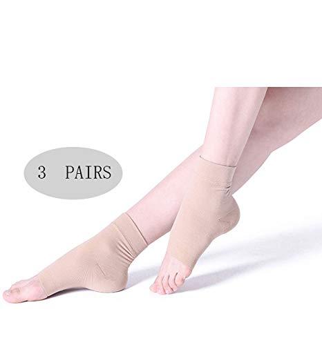 ZPPLD (3 Paar) Plantarfasziitis-Kompressionshülsen-Socken, Orthesen-Fußhülsen für Männer und Frauen Balck Ankle Pain Swelling,S (Guter Koch Reibe)