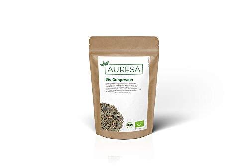 AURESA Bio Grüner Tee Gunpowder   Kräftiges Aroma   Chinesischer Grüntee aus kontrolliert biologischem Anbau