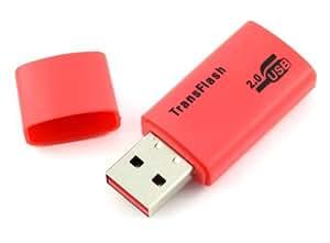 COM-FOUR Mini adaptateur USB avec lecteur de carte micro SD Rouge