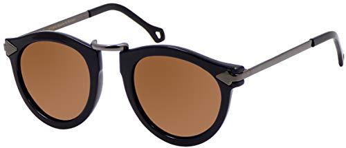 La Optica B.L.M. UV400 CAT 3 CE Damen Sonnenbrille Rund ohne Nasensteg - Glänzend Schwarz (Gläser: Braun)_LO15 Bl B-Brown