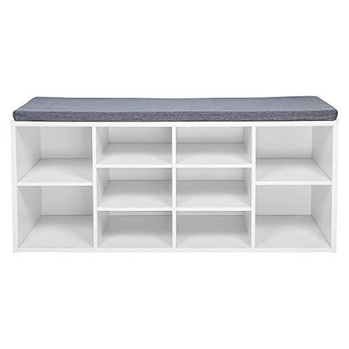 LEMAIJIAJU Schuhbank, Schuhschrank mit Sitzkissen aus E1 Holzspanplatte Flur Diele Schuhregal 104 x 45 x 30 cm, weiß