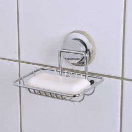 Tendance Soap Dish on Suction Pads, Metal, Chrome, 12 x 12 x 9 cm