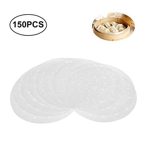 Uarter Premium Perforiertes Pergament Bambus Dämpfer Papierzwischenlagen - 9 Zoll - 150-Count - für Air Fryer, dampfenden Korb, Kochen, Gemüse, Reis, Dim Sum