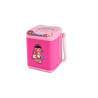 Marvvola Mini Spielzeug für Waschmaschine Elektrisch Pinsel Reinigung Make Up Pinsel,Schminke Brushes Automatische Reinigung Pretend Play Toys Kinder Wäsche Spielset (A, Rosa)