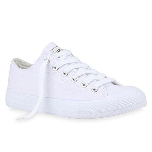 Damen Sneakers Turn Freizeit Low Sneaker Übergrößen Prints Glitzer Denim Schuhe 112589 Weiss Weiss 39 | Flandell®
