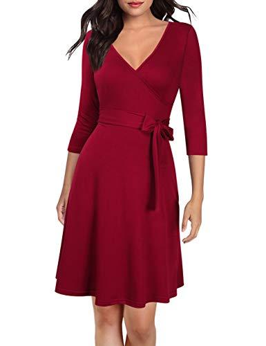 KOJOOIN Damen Kleid Businesskleid Knielang Wickelkleid, 3/4 Arm mit V-Ausschnitt und Gürtel, Weinrot, XL (Club-kleid Prime Versand)