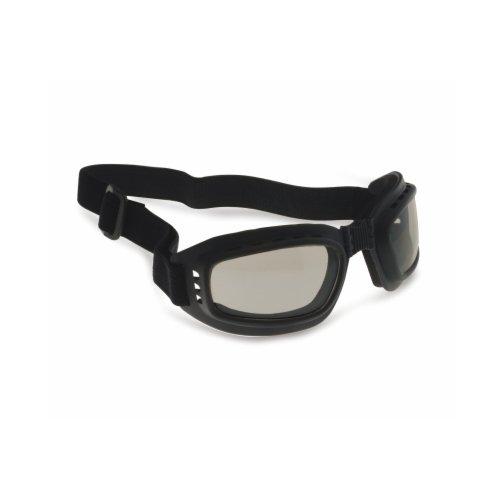 BERTONI Motorrad Brille mit Gläsern stoßfest Anti-Beschlag beschlagfrei-Gummizug Verstellbar-AF112by Maske Motorrad-Helm, Unisex - Erwachsene, Nero Gomma-A