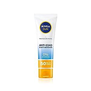 NIVEA SUN Protección Facial UV Anti-edad & Anti-manchas FP50 (1 x 50 ml), protector solar facial, crema antiedad 0…
